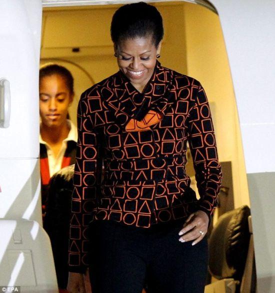 Michelle in a Duro Olowu Pret a Poundo