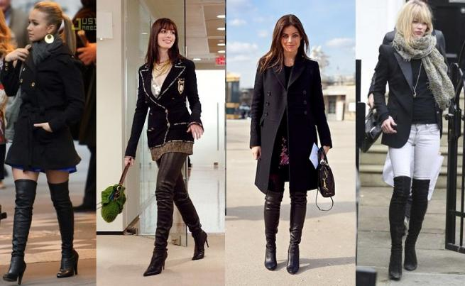 How to mix over knee boots - Shoes house